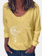 Printed V-neck Long Sleeve Vintage T-shirt For Women - Yellow