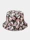Unisex Cotton Overlay Cartoon Skull Flower Print Double-sided Wearable Fashion Sunscreen Bucket Hat - #03