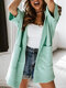 Solid Pocket Hooded Open Front Knitted Short Sleeve Cardigan - Green