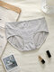 Women Floral Print Antibacterial Cotton Comfy Mid Waisted Panties - Gray