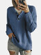 Women Solid Color Button Loose Long Sleeve Casual Sweater - Blue