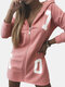Letters Print Zip Front Hooded Plus Size Thin Coat For Women - Pink