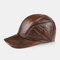 Men's Leather Hat First Layer Cowhide Casual Dome Duck Tongue Earmuffs Adjustable Big Brim Baseball Cap - Yellow Brown