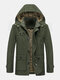 Mens Winter Thicken Fleece Lined Mid-Length Warm Parka With Removable Hood - Green
