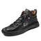 Men Rubber Toe Cap Microfiber Leather Hand Stitching Ankle Boots - Black