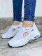 حذاء نسائي كاجوال نقي اللون خطاف وحلقة محبوكة وسادة هوائية للمشي - أبيض