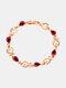 Vintage Heart Women Bracelet Hollow Inlaid Diamonds Bracelet Valentine's Day Gift - Red