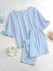 Solid Color Ruffle O-Neck Suit Women Casual Set - Blue