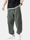 Mens Linen Solid Color Loose Casual Drawstring Cuff Cargo Pants - Green
