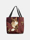 Women Felt Cat Print Handbag Shoulder Bag Tote - Red