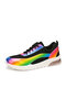 Plus Size Women Casual Knitted Colorful Lace Up Running Sneakers - Black
