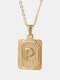 Vintage Gold Square Stainless Steel Letter Pattern Pendant - P