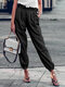 Solid Color Drawstring High Waist Elastic Casual Pants With Pockets - Black