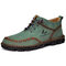 Men Hand Stitching Microfiber Leather Soft Lace Up Ankle Boots - Green