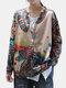 Винтаж Этнический принт с мультяшным принтом Loose Button Cardigan - Многоцветный