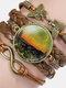 Vintage Oil Painting Print Pattern Butterfly Geometric Shape Hand-braided Glass PU Alloy Multi-layer Bracelet - #05