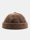 Men Cotton Knitted Solid Color British Vintage Brimless Beanie Landlord Cap Skull Cap - Coffee