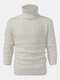 Mens Solid Color Twisted Cable Knit High Neck Slim Fit Casual Sweater - White