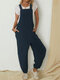 Solid Color Sleeveless Loose Jumpsuit For Women - Navy