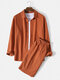 Mens 100% Cotton Solid Color Long Sleeve Casual Two-Piece Outfits - Orange