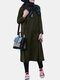 Solid Color Pocket Slit Button Long Sleeve Casual Sweatshirt Dress - Army green