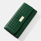 Women Weave 9 Card Slots Photo Card Phone Bag Money Clip Wallet - Green