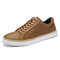 Menico Men Classic Skate Shoes Lace Up Sport Leather Trainers - Brown