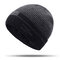 Mens Thick Wool Velvet Knitted Hat Warm Winter Windproof Outdoor Casual Snow Beanie - Black