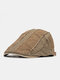 Men Made-old Cotton Color-match Patchwork Casual Sunscreen Beret Flat Caps - Army Green