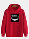 Mens Funny Letter Printing Cotton Casual Drawstring Hoodies - Red