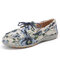 SOCOFY Craft Cloth Retro Floral Pattern Stitching Lace Up Comfy Flat Shoes - Blue