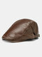 Collrown Men Faux Leather Retro Solid Color Flat Cap Universal All-match Forward Hat Beret Hat - Coffee