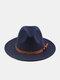 Unisex Woolen Felt Solid Color Rivet Buckle Strap Decoration Thicken Flat Brim Top Hat Fedora Hat - Navy