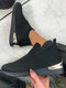 Plus Size Women Breathable Hollow Out Mesh Elastic Band Wedges Sneakers - Black
