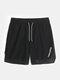 Mens Mesh Stitching Side Split Quick Dry Drawstring Swim Shorts - Black