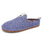 SOCOFY Solid Color Metal Buckle Household Cotton Slip On Indoor Flat Home Shoes Slippers - Blue
