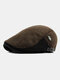 Men Wool Plus Thick Keep Warm Patchwork Color Knitted Forward Hat Flat Cap - Coffee