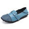 Large Size Women Splicing Leather Casual Hook Loop Soft Flat Loafers - Blue