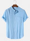 Mens Solid Color Short Sleeve Pleated Texture Curved Hem Shirt - Blue