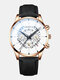 Decorated Pointer Men Business Watch Calendar Stainless Steel Leather Quartz Watch - #26
