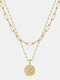 Luxury Layering Paperclip Chain Women Necklace 26 Initials Coin Pendant 14K Gold Plated Necklace Clavicle Chain - Z
