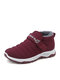 Women Snow Boots Casual Waterproof Warm Hook & Loop Ankle Cotton Boots - Red