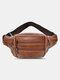 Men Outdoor Genuine Leather Cow Leather Multi-Layers Crossbody Bag Chest Bag Sling Bag - Brown