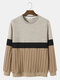 Mens Cable Knit Color Block Patchwork Casual Pullover Sweatshirts - Khaki