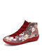 Women Funny Christmas Cartoon Pattern Printing Lace Up Flat Short Boots - Red