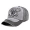 Outdoor Embroidery Personalized Edging Washed Denim Baseball Cap Sunshade Hat - Gray