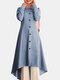 Solid Color Button Curved Hem Casual Muslim Dress for Women - Light blue