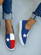Women Casual Color Block Stars Pattern Round Toe Canvas Loafers Shoes - Blue