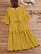 Polka Dot Print Elastic Waist Ruffle Sleeve Plus Size Casual Dress - Yellow