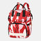 Women Oxford Camo Multifunctional Large-capacity Waterproof Backpack Mommy Bag - Red
